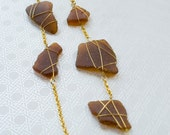 Gold Wrapped Auburn Sea Glass Long Necklace