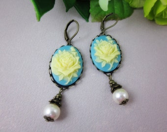 Yellow Rose Earrings. Bridal Jewelry. Bridesmaid Gift. Birthday Gift.
