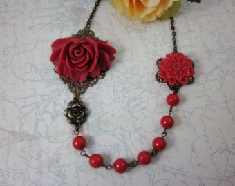 Red Rose and Dahlia with red swarovski pearls Necklace.  Lovely gift for her. Birthday, Christmas.