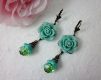 Seafoam Rose Earrings.  Gift for her.