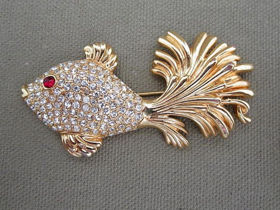 Large Rhinestone Fantasy Fish Brooch