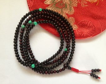 Rosewood 216 Bead Tibetan Mala with Turquoise Spacers- 4.5mm Beads
