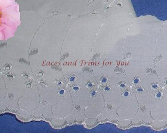White Eyelet Fabric Trim 4 Yards Embroidered 4 inch Lace I03 Added Items Ship No Charge