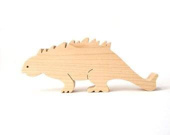Large Ankylosaurus Wooden Dinosaur Toy Waldorf Wood Toy Dinosaur Children's Toys