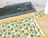 Quilted Placemat, Sunflower Placemat, Sunflower decor, Desk Accessories, Office Decor, Single Placemat, TV Tray Placemat