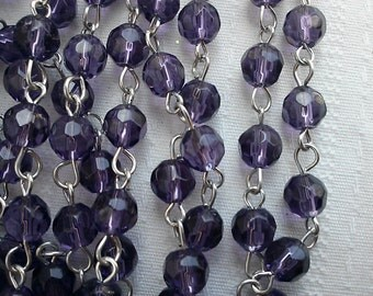 36 inches 6 mm Royal Purple  Faceted Round Glass Beaded Rosary Chain with Silver Loop Rosary Chain  Links Jewelry Supply