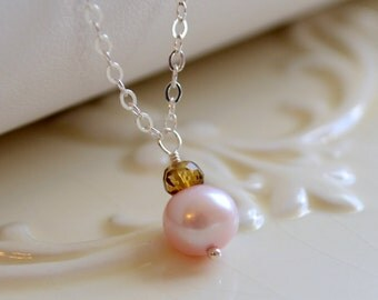 Pink Pearl Necklace, Freshwater Pearl, Brown Tourmaline Gemstone, Child Children Girl, Sterling Silver, Flower Girl Jewelry