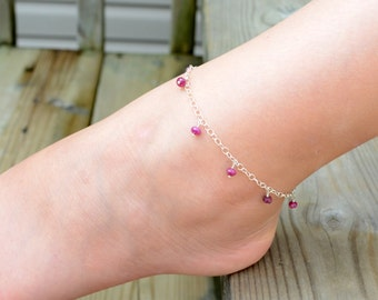 July Birthstone Anklet Children Girl Child Genuine Ruby Gemstone Delicate Wire Wrapped Sterling Silver Jewelry