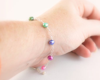 Colorful Bracelet, Genuine Freshwater Pearl, Bright Rainbow Jewelry, Gold or Sterling Silver, Free Shipping