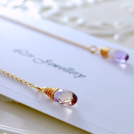 Ametrine Earrings, Threader Earrings, Gift for Women, Delicate Feminine, Lilac, Sterling Silver or Gold Jewelry, Free Shipping