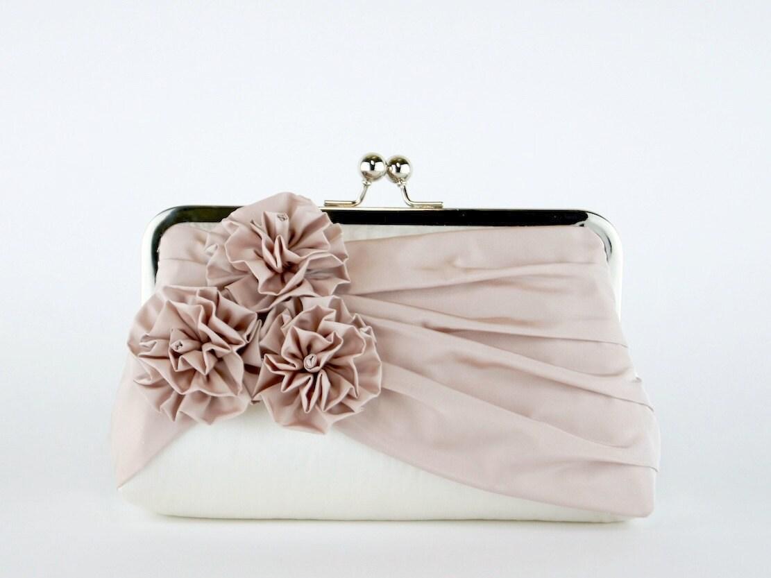 Bridal Clutch Roses Silk Clutch In Blush And Ivory Wedding