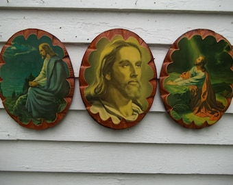Vintage Set of Three Religious Jesus Pictures on Wood