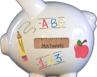Personalized Piggy Bank with Teacher Design | White | Large | Baby Gift | Free Shipping