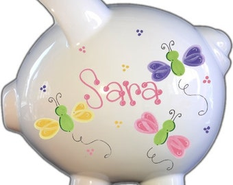 Girl's Personalized Piggy Bank Handpainted Ceramic Custom banks for her Baby Free Shipping Nursery piggybank Shower Gift
