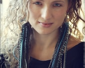 Long thick feather earrings blue large feather earrings - Cruelty Free Feathers