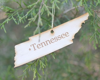 Natural Wood Tennessee State Ornament