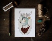 Oh Deer 5x7 art print, illustration, deer in ugly sweater, antlers, teal, illustrated deer bust, reproduction print, winter, digital print