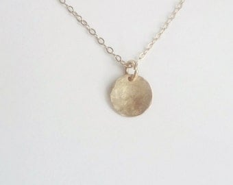 14K Gold filled ,hand  hammered disk pendant , circle, round  (9mm)