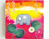 CLEARANCE - Journey - OOAK Original Mixed Media Elephant and Lotus Painting 8x8 inches on Deep Wood Panel