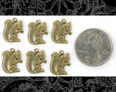 Antique Brass Squirrel Charms - Set of Six  AB C47