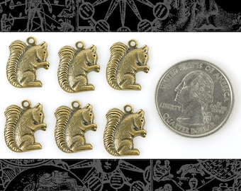 Antique Brass Squirrel Charms - * Set of Six  AB C47
