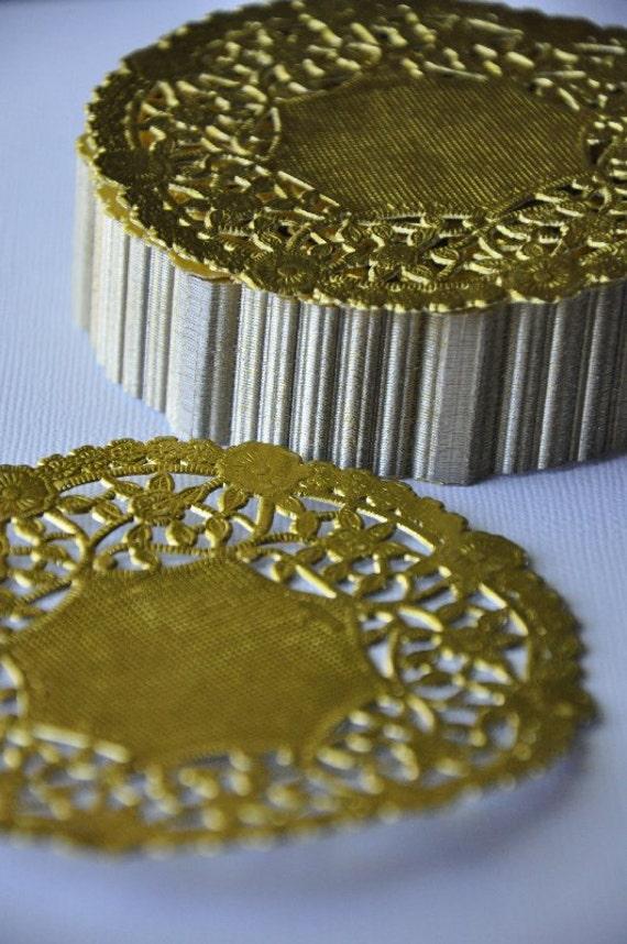 25 Gold Foil Doilies 4 inch