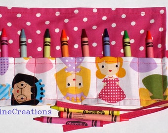 Crayon Roll Up Crayon Holder Princess Friends - Holds 8 Crayons