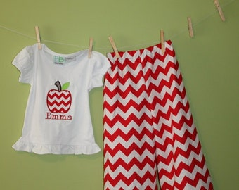 Back to school outfit- chevron ruffle capris and apple ruffle tee