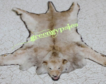 Miniature Faux Lion Skin Rug for Dollhouse in One Twelfth Scale