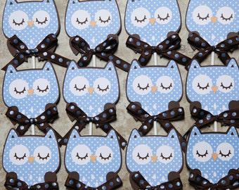 Owl cupcake toppers with brown and blue polka dot- Quantity 12