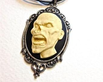 Zombie necklace// Zombie Apocalypse//Zombie Movie// The Walking Dead// Zombie Cameo Jewelry//