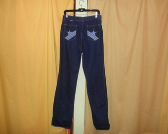 70s dark denim star pocket jeans 1970s long tall high waist flared bell bottom pants size L XL 32 x 35