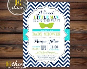 Little Man Baby Shower Invitation - Bow Tie Boy's Shower Invite - Navy, Apple Green, Aqua - Chevron and Polka Dots