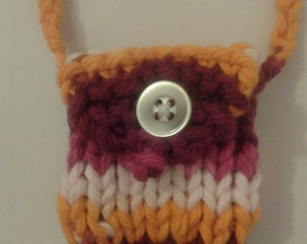 Super tiny knitted trinket purse necklace