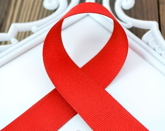 Red 3/8 inch - Choose from 1-50 yd - Grosgrain Ribbon - Hairbow Supplies, Etc.