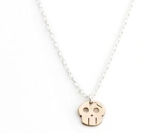 Fractured Skull Necklace in Bronze