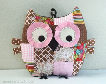 Owl Pillow, Patchwork Owl, Stuffed Animal, Owl Plush Toy, Baby Girl Gift, Pink and Brown