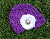 Crochet Newsboy Cap: Purple and White Flower Clip - Girls Toddler/Child Size