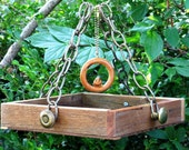 Singing Me Softly - Hanging Bird Feeder Tray - Recycled and Vintage Materials