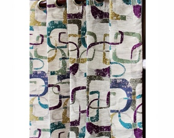 """Multicolored Geometric Abstract Curtain Panels 52""""x84"""" Grommet Unlined Drapes Home Living Decor Housewares Valence Bedroom Window Treatments"""