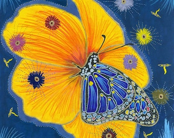 Butterfly and Flower Art Print of Original Work On Paper