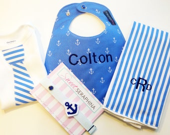 Baby Boy Gift Set - Nautical Gift Set - Monogrammed Bib, Monogrammed Burp cloth, Tie Bodysuit & Pacifier Clip - Anchors - Etsykids Team