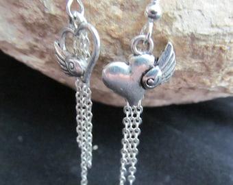 Beautiful Winged Heart asymmetrical Charm Dangle  Earrings E 25