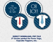 Printable Little Man Cupcake Toppers or Favor Tags Baby Shower One Piece and Neck Ties Navy DIY Digital file