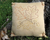 LAST ONE, Clearance SALE, Primitive Autumn Pillow, Fall Hand Embroidery, Fall Leaves Acorns, Rust, Olive Green, Plaid