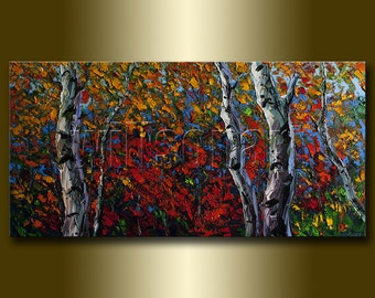CUSTOM Original Autumn Birch Tree Forest Modern Art Seasons Textured Palette Knife Landscape Painting Oil on Canvas