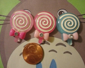 Kawaii swirl lollipop decoden phonw deco diy cabochons   3 pcs---USA seller
