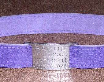 Leather Custom Tag Collar for Greyhounds - Royal Purple