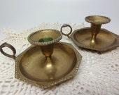 Pair of Octagon Shaped Brass Candle Holders