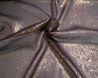 Black with Gold Metallic Silk Chiffon Fabric--One Yard